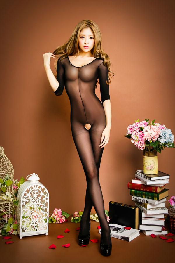 セクシー下着の通販商品:七分袖・オープンボディストッキング・黒・イメージ写真1