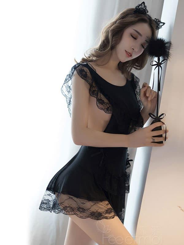 セクシー下着の通販商品:見えちゃう!?フラワーレース・ブラ&オープンGストリング・セルリアンブルー・イメージ写真2