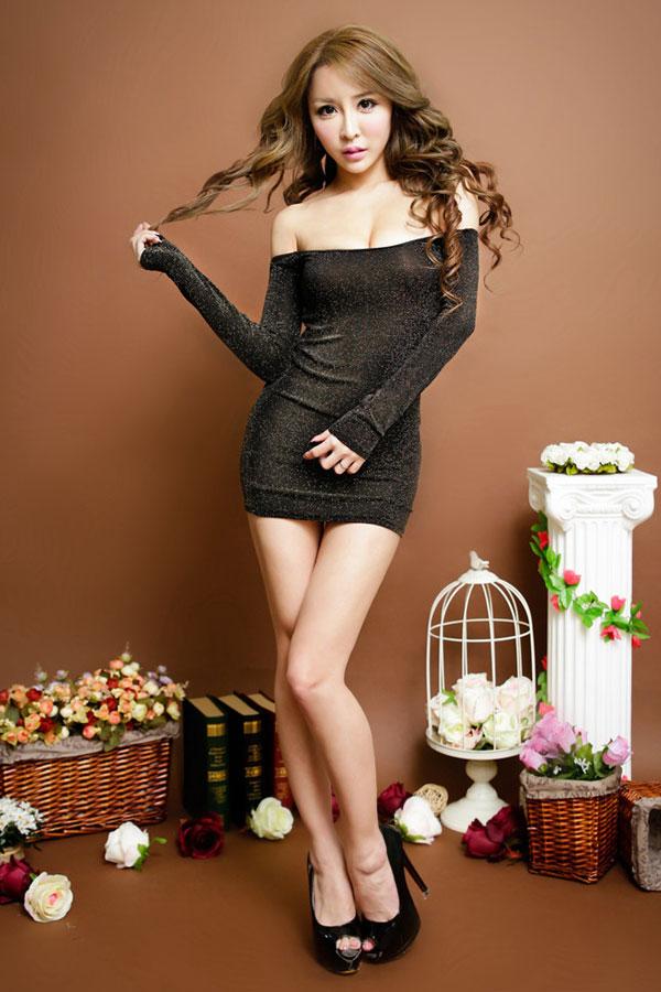 セクシー下着の通販商品:ラメ入り・オフショルダー・タイトドレス・ゴールド・イメージ写真1