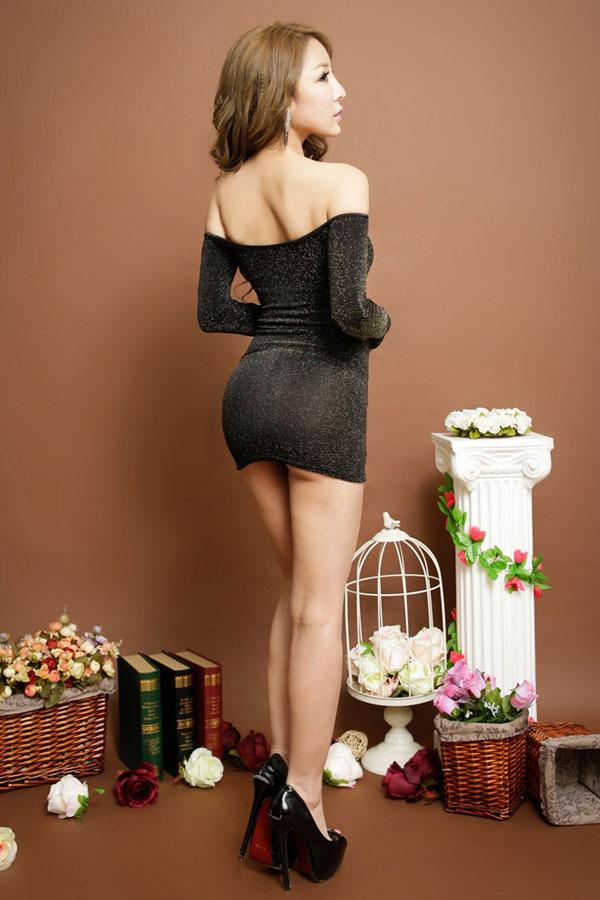 セクシー下着の通販商品:ラメ入り・オフショルダー・タイトドレス・ゴールド・イメージ写真4