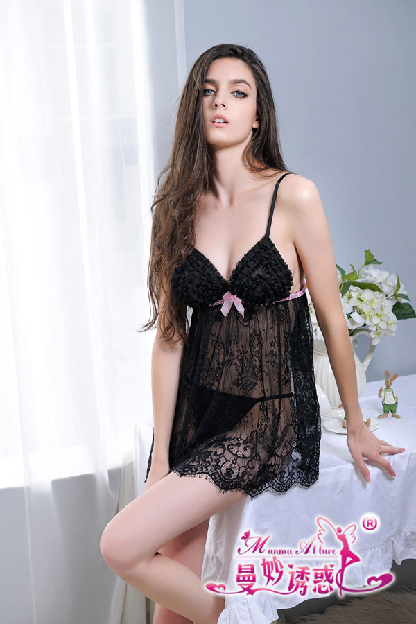セクシー下着の通販商品:フリルバスト・ベビードール・黒・イメージ写真2
