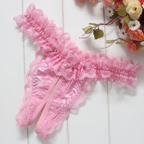 セクシー下着の通販商品:レースのオープンクロッチTバック・ピンク・イメージ写真4