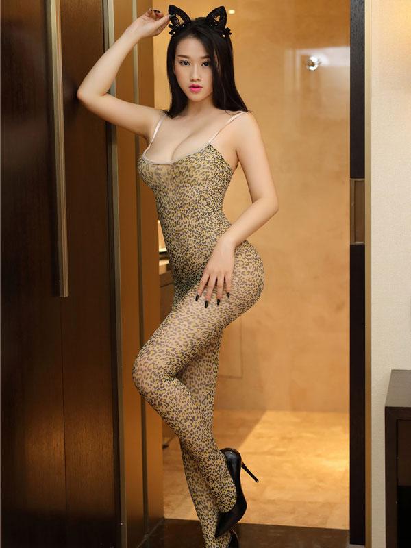 セクシー下着の通販商品:ヒョウ柄・ボディストッキング・イメージ写真1