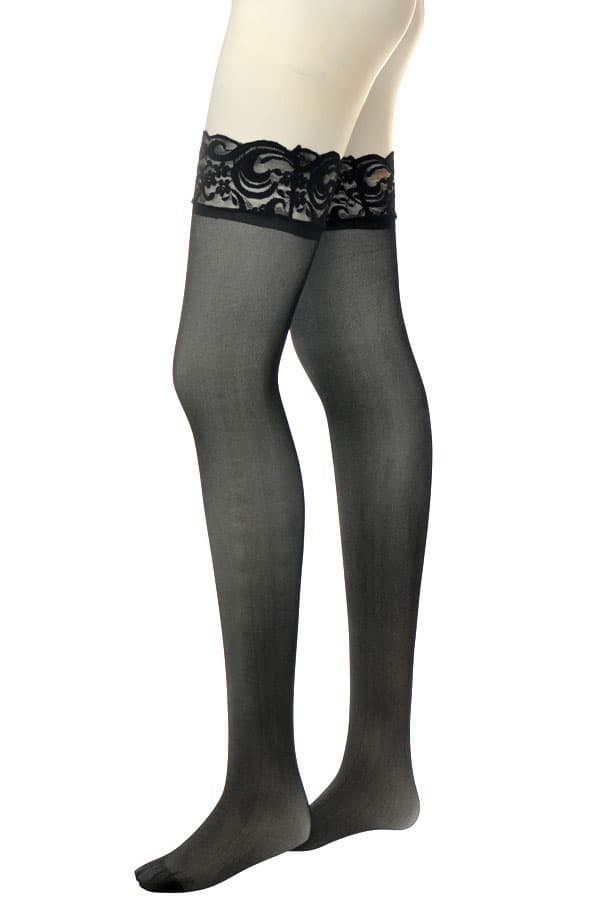 セクシー下着の通販商品:滑り止めシリコン付フラワーレーストップ・ストッキング・黒・イメージ写真3