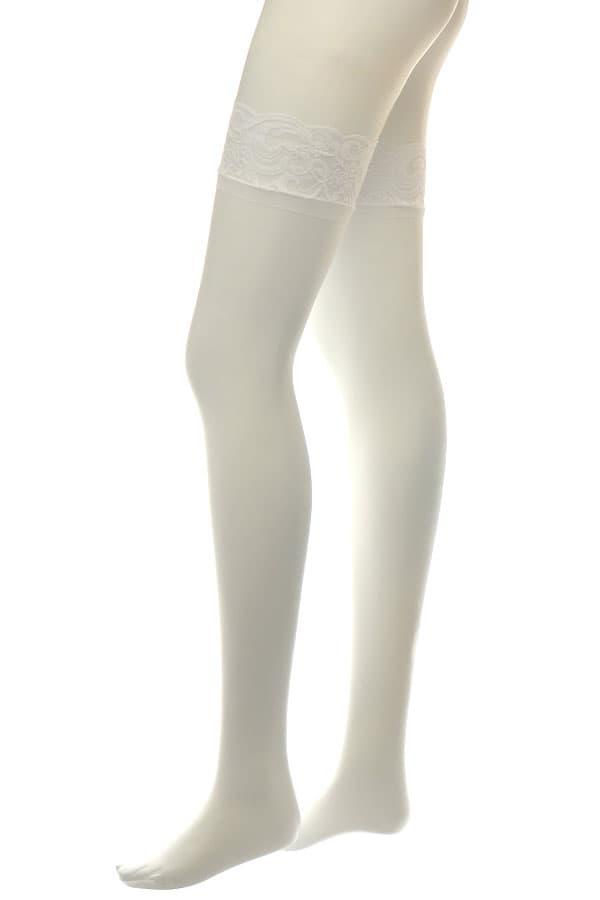 セクシー下着の通販商品:滑り止めシリコン付フラワーレーストップ・ストッキング・白・イメージ写真3