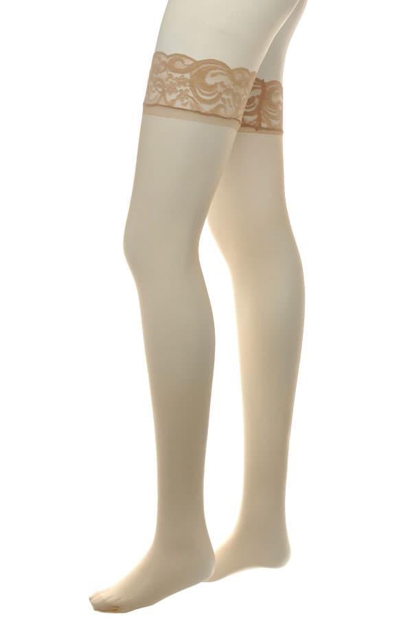 セクシー下着の通販商品:滑り止めシリコン付フラワーレーストップ・ストッキング・ベージュ・イメージ写真3