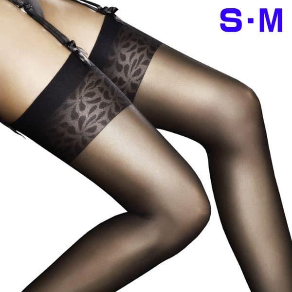 セクシー下着の通販商品:極薄8デニール・フラワーデザイントップ・ガーターストッキング・黒・イメージ写真2