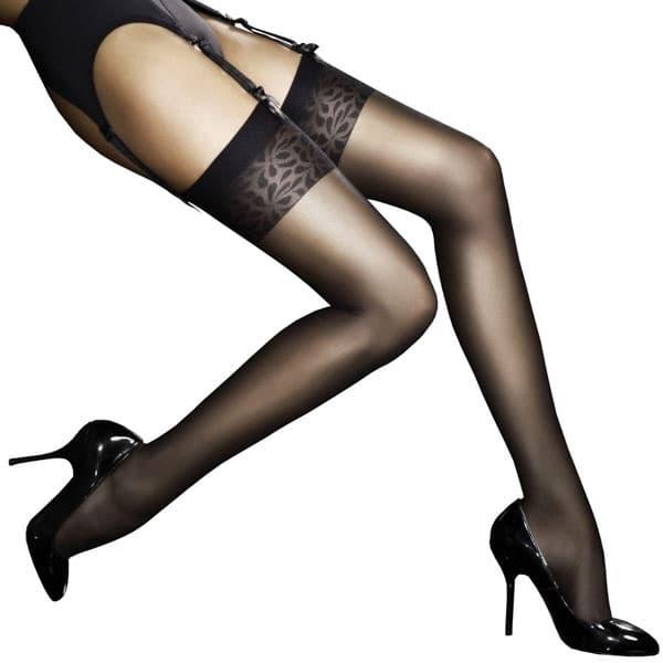 セクシー下着の通販商品:極薄8デニール・フラワーデザイントップ・ガーターストッキング・黒・イメージ写真1