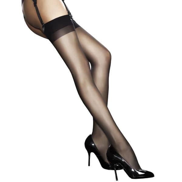 セクシー下着の通販商品:薄手20デニール・シンプル・ガーターストッキング・黒・イメージ写真1