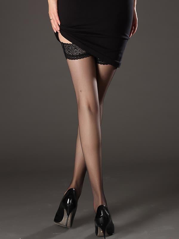 セクシー下着の通販商品:極薄8デニール・シリコン付フラワーレーストップ・ストッキング・黒・イメージ写真5
