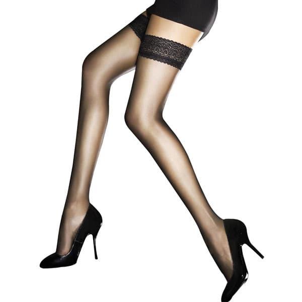 セクシー下着の通販商品:極薄8デニール・シリコン付フラワーレーストップ・ストッキング・黒・イメージ写真1
