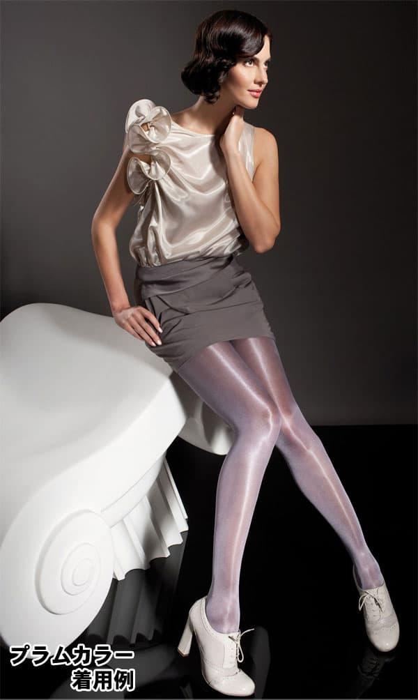 セクシー下着の通販商品:光沢グロス・40デニール・パンティストッキング・白・イメージ写真3