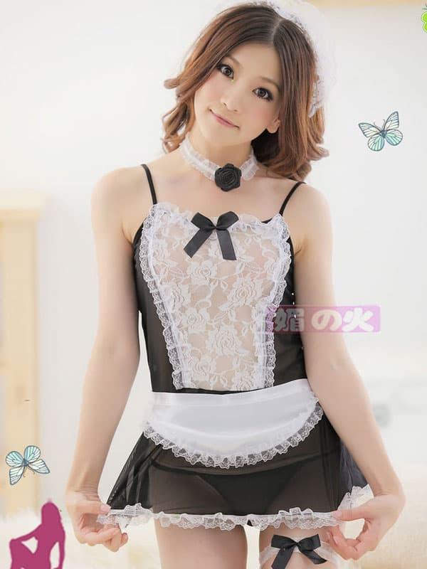 セクシー下着の通販商品:シースルーメイド服・イメージ写真2