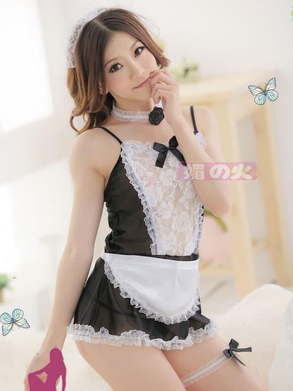 セクシー下着の通販商品:シースルーメイド服・イメージ写真4