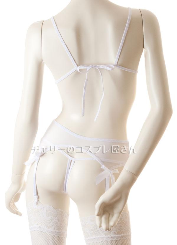 セクシー下着の通販商品:オープンブラ&ガーターショーツ・網ストッキングセット・白・イメージ写真C