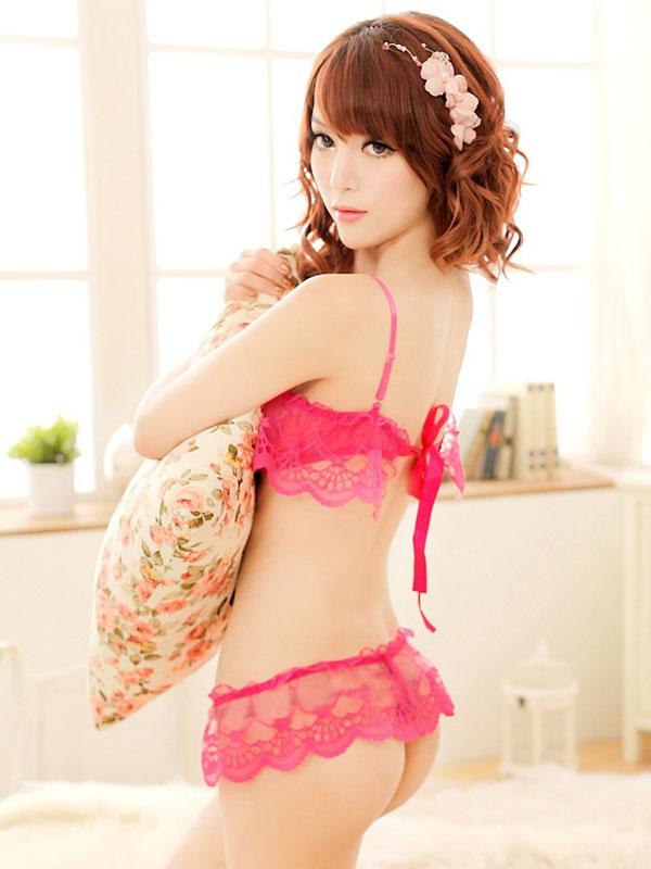セクシー下着の通販商品:シースルーレイヤー・ブラセット・ローズピンク・イメージ写真3