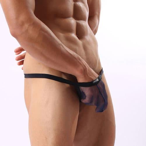 セクシー下着の通販商品:メンズ下着・メッシュシースルー・Gストリングパンツ・ネイビーブルー・イメージ写真2