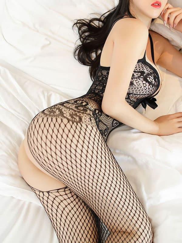 セクシー下着の通販商品:リボンメッシュ・オープンボディストッキング・黒・イメージ写真4