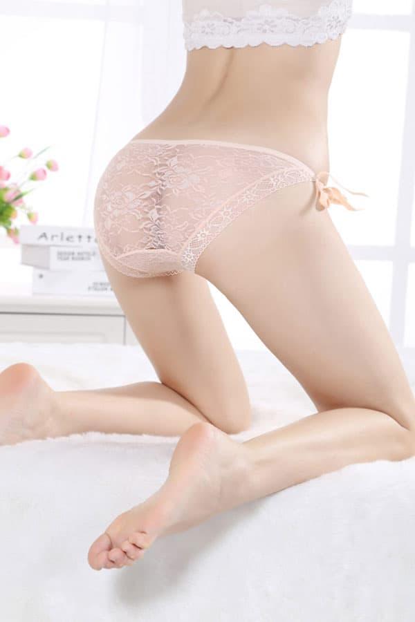 セクシー下着の通販商品:サイド結び・シースルーショーツ・アプリコット・イメージ写真3