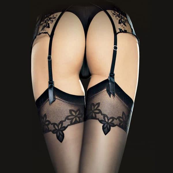 セクシー下着の通販商品:薄手20デニール・フラワーメッシュデザイントップ・ガーターストッキング・黒・イメージ写真2