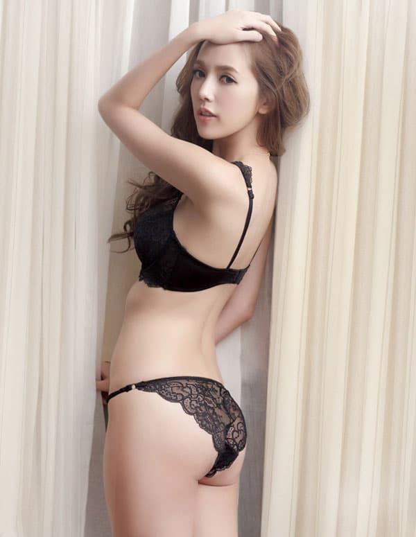 セクシー下着の通販商品:エレガントなセミシースルー・ノンパッド・ワイヤー入りブラセット・黒・日本サイズC70/D70/C75/D75・イメージ写真2
