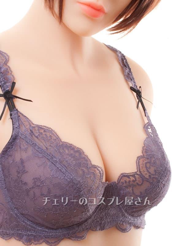 セクシー下着の通販商品:エレガントなセミシースルー・ノンパッド・ワイヤー入りブラセット・紫・日本サイズC70/D70/C75/D75・イメージ写真4