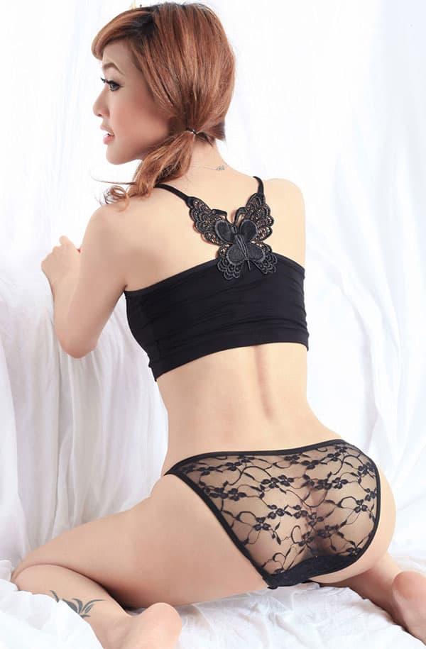 セクシー下着の通販商品:パピヨン刺繍・シースルーショーツ・黒・イメージ写真3