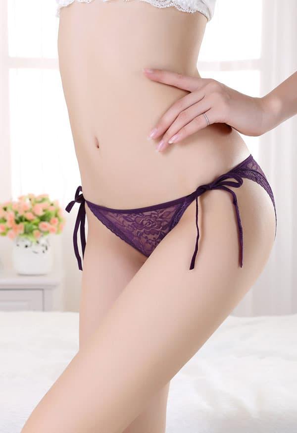 セクシー下着の通販商品:サイド結び・シースルーショーツ・紫・イメージ写真2
