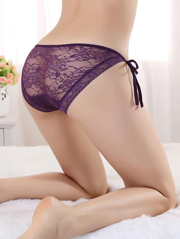 セクシー下着の通販商品:サイド結び・シースルーショーツ・紫・イメージ写真3
