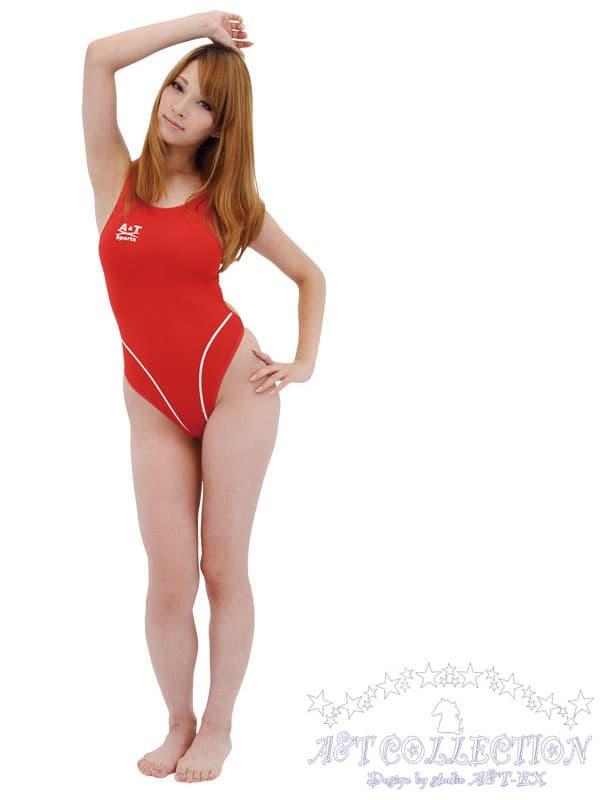 セクシー下着の通販商品:ハイレグ・うすうす競泳水着・赤・イメージ写真2