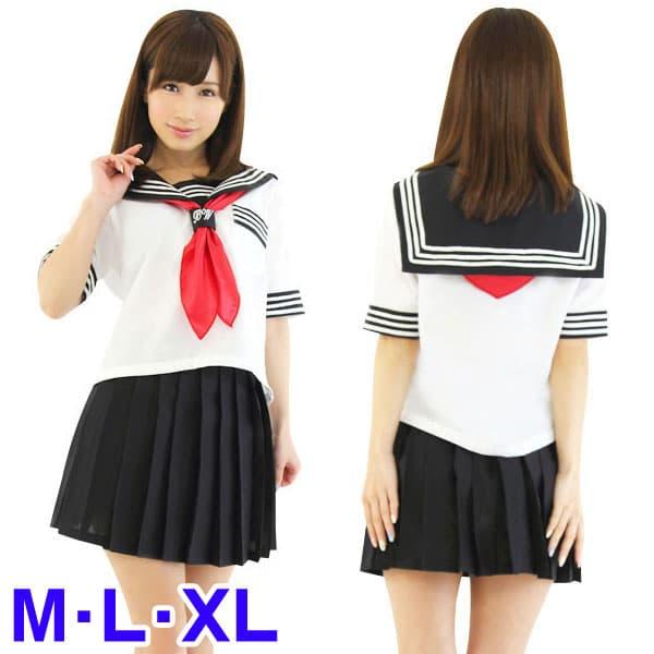 セーラー服(白/黒)・半袖・スカーフ
