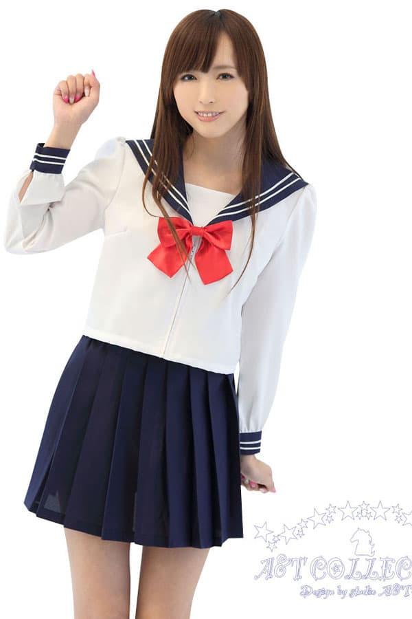 セクシー下着の通販商品:前開きセーラー服(白/黒)・長袖・リボン・イメージ写真3