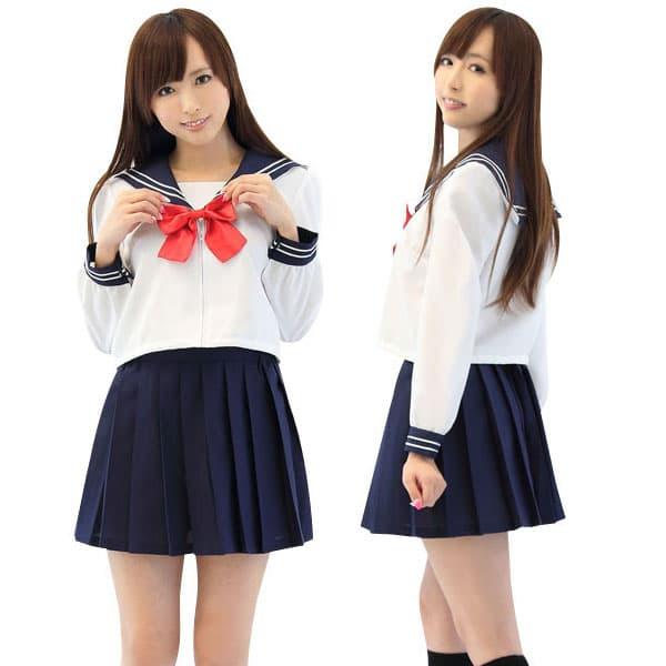 前開きセーラー服(白/黒)・長袖・リボン