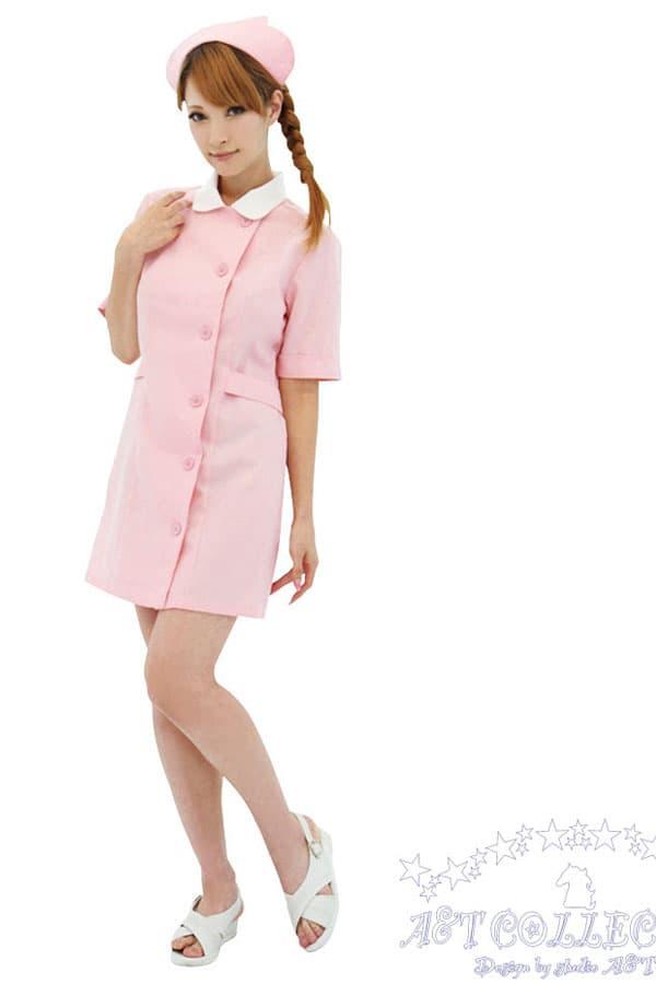セクシー下着の通販商品:パステルピンク・ナース服・前ボタン・イメージ写真2
