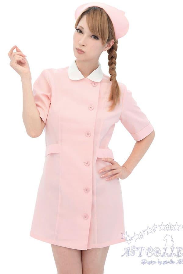 セクシー下着の通販商品:パステルピンク・ナース服・前ボタン・イメージ写真3