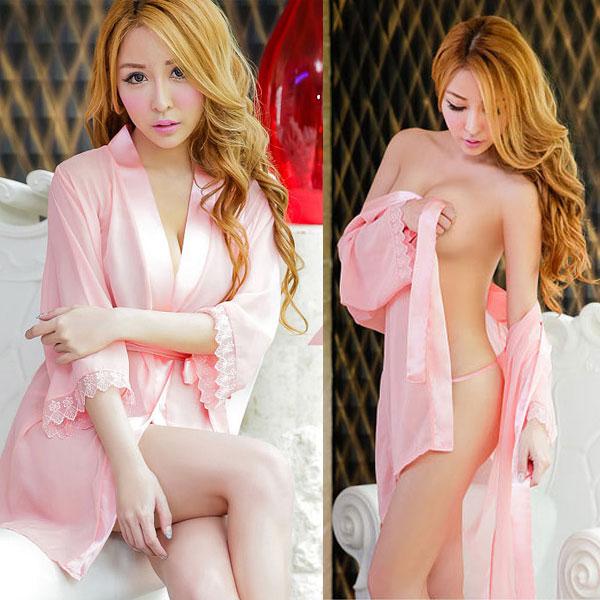 セクシー下着の通販商品:夜の装い!セミロング・シースルー・ナイトガウン・ピンク・イメージ写真1