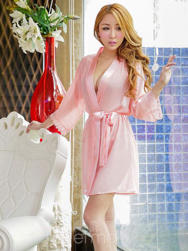 セクシー下着の通販商品:夜の装い!セミロング・シースルー・ナイトガウン・ピンク・イメージ写真2