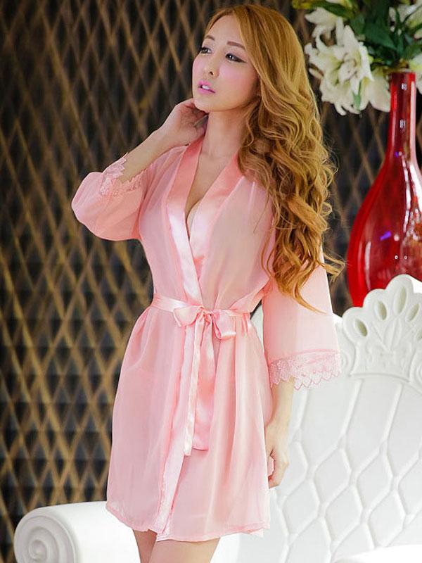 セクシー下着の通販商品:夜の装い!セミロング・シースルー・ナイトガウン・ピンク・イメージ写真3