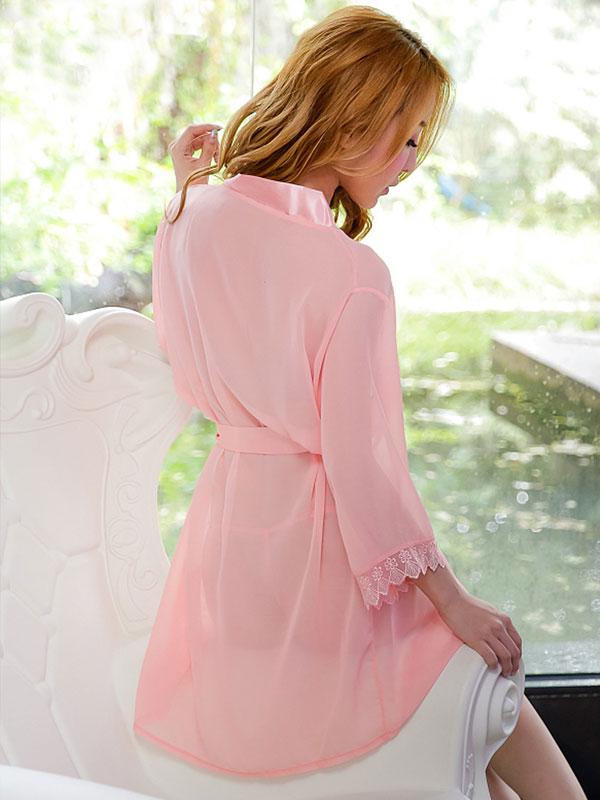 セクシー下着の通販商品:夜の装い!セミロング・シースルー・ナイトガウン・ピンク・イメージ写真4