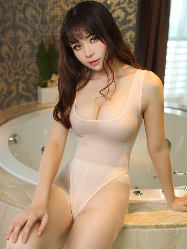 セクシー下着の通販商品:あいちゃう!オープン・ハイレグ・レオタード・アプリコット・イメージ写真2