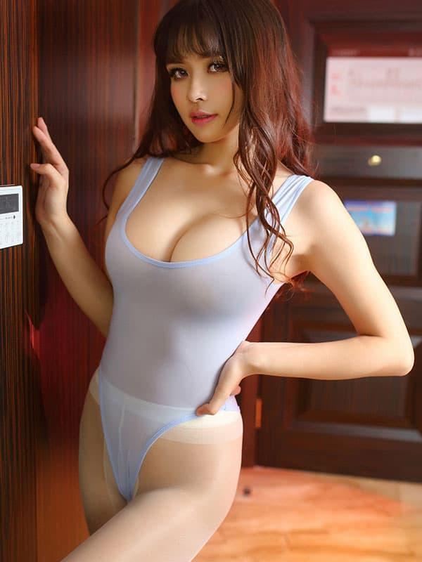 セクシー下着の通販商品:あいちゃう!オープン・ハイレグ・レオタード・ブルーグレー・イメージ写真2
