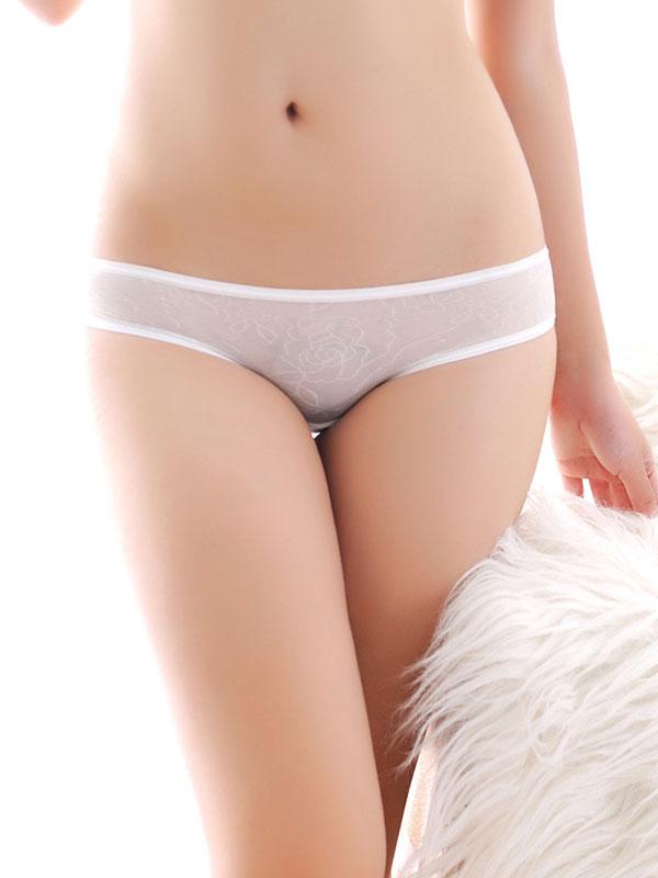 セクシー下着の通販商品:シースルーレース・クロスオープンショーツ・白・イメージ写真4