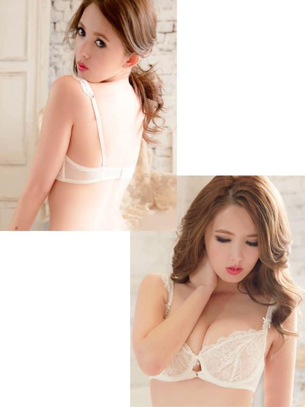 セクシー下着の通販商品:輝く胸元!セミシースルー・ノンパッド・ワイヤー入りブラセット・オフホワイト・日本サイズC70/D70/C75/D75・イメージ写真1