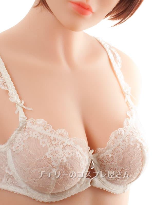 セクシー下着の通販商品:輝く胸元!セミシースルー・ノンパッド・ワイヤー入りブラセット・オフホワイト・日本サイズC70/D70/C75/D75・イメージ写真2
