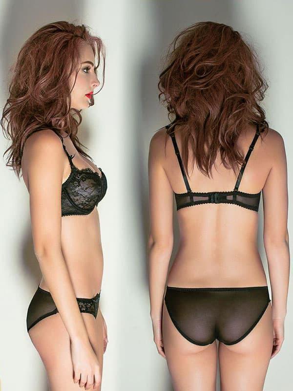 セクシー下着の通販商品:輝く胸元!セミシースルー・ノンパッド・ワイヤー入りブラセット・黒・日本サイズC70/D70/C75/D75・イメージ写真3