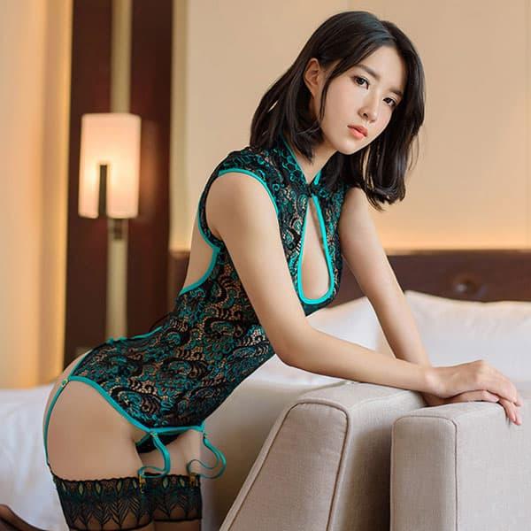 セクシー下着の通販商品:孔雀刺繍・チャイナドレス風・ガーターコルセット・エメラルドグリーン・イメージ写真1