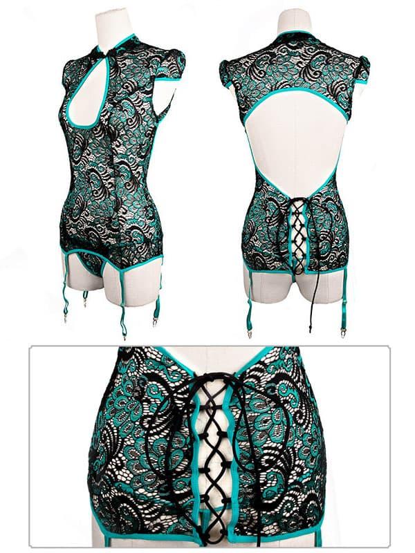 セクシー下着の通販商品:孔雀刺繍・チャイナドレス風・ガーターコルセット・エメラルドグリーン・イメージ写真4