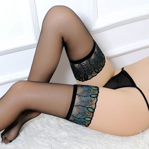 セクシー下着の通販商品:孔雀模様・ガータベルト用ストッキング・黒/緑・イメージ写真1