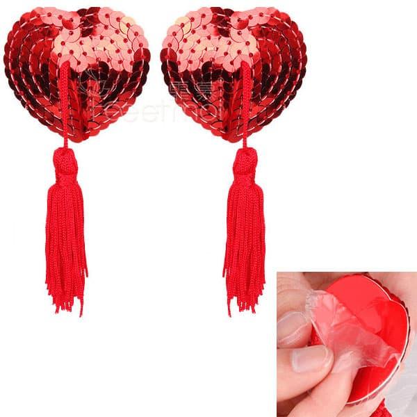 セクシー下着の通販商品:ハート形スパンコール・ニップレス・赤・イメージ写真4