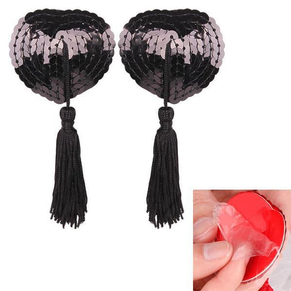 セクシー下着の通販商品:ハート形スパンコール・ニップレス・黒・イメージ写真4